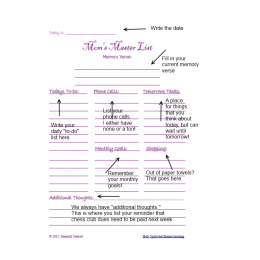 Mom's Master Planning List: Free Daily Organizing Printable