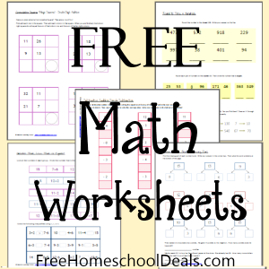 Today we are offering free math worksheets for homeschool math from ...
