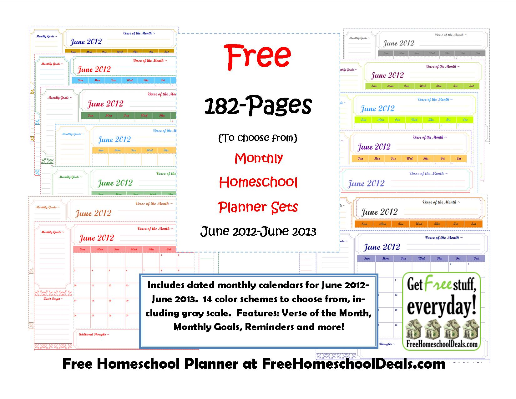 Weekly Calendar Homeschool : Free monthly homeschool planner sets pages