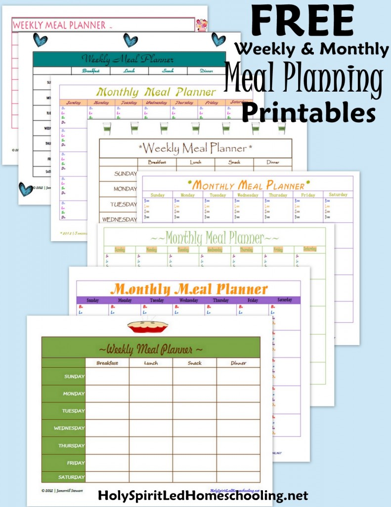Free Monthly Meal Planner | New Calendar Template Site