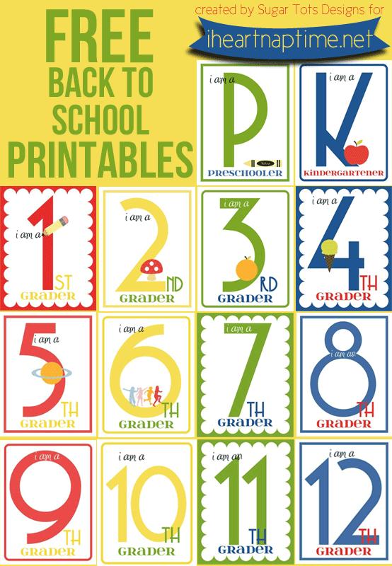 FREE Back To School Printables Grades K-12