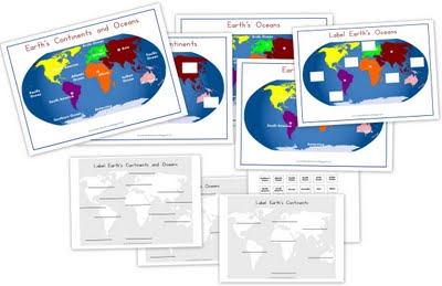 Free Continents & Oceans Printables
