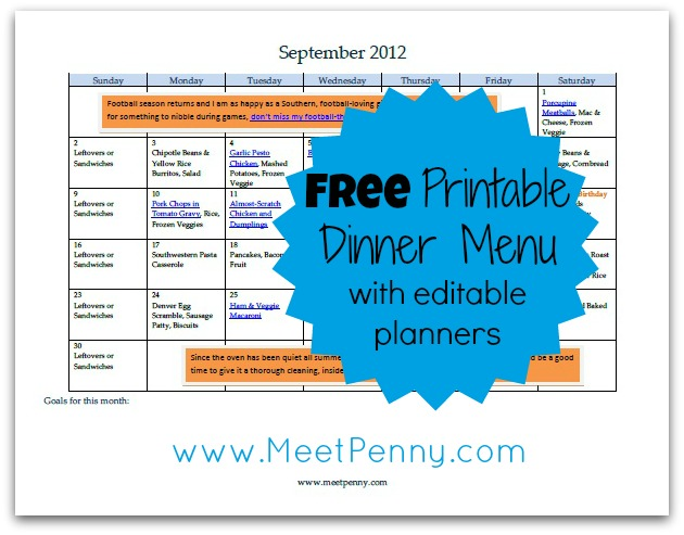free editable september menu planner printable free homeschool