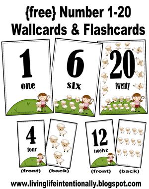 Number Names Worksheets printable numbers 1-20 : Free Preschool Printables: Numbers 1-20 Wallcards & Flashcards ...