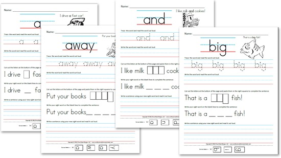 free kindergarten worksheets sight word sentences pre primer - Kindergarten Printables Free