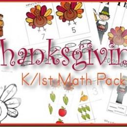 Free Thanksgiving Kindergarten and First Grade Math Printables