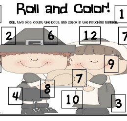 Free Roll and Color Thanksgiving Game