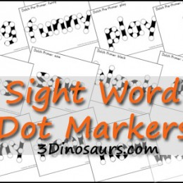Free Worksheets: Sight Word Dot Marker Set