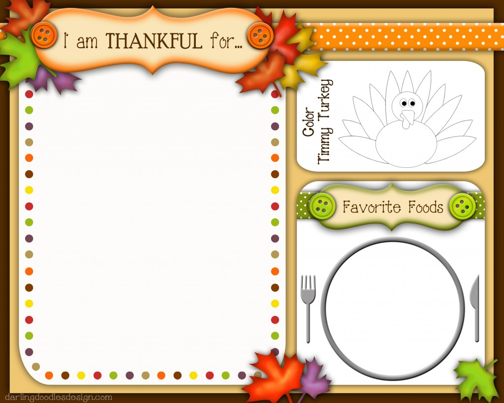 Free Kid's Thanksgiving Placemats