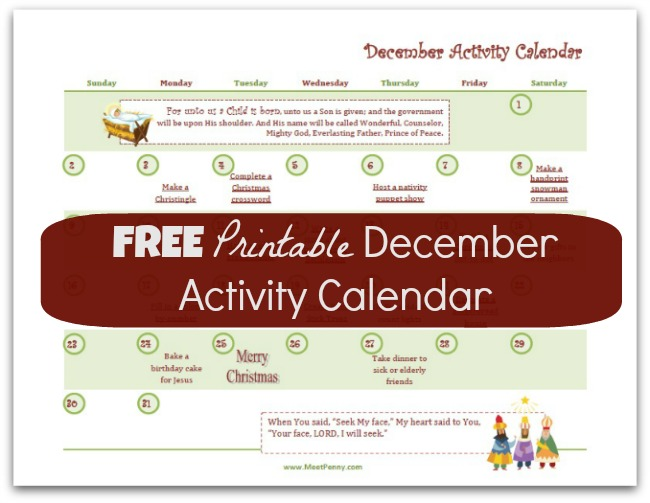 free printable december activity calendar with links free homeschool deals. Black Bedroom Furniture Sets. Home Design Ideas