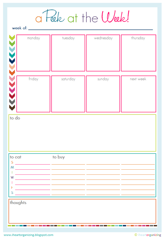 free organizing worksheets  printables  and planners