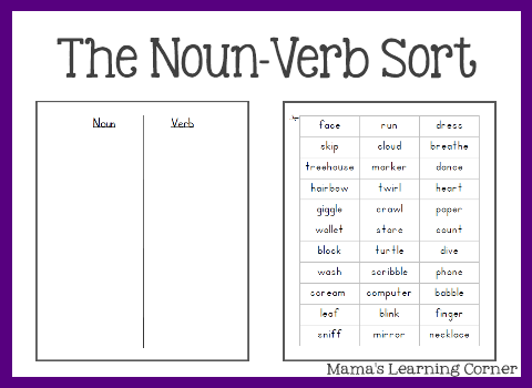 Printables Free Worksheets On Nouns free parts of speech worksheets the nounverb sort sort