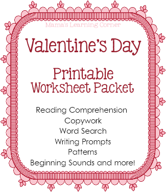 valentine 39 s day worksheet packet from mama 39 s learning corner free homeschool deals. Black Bedroom Furniture Sets. Home Design Ideas