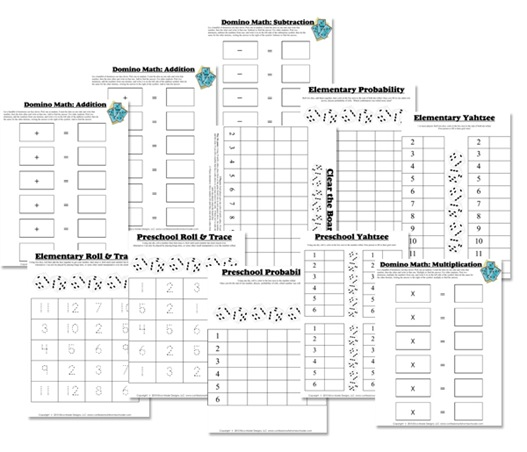 Worksheets Math Games Worksheets free math worksheets dice domino games homeschool deals