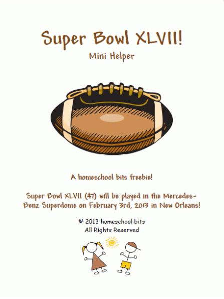 Free  Super Bowl XLVII (47) Printable Learning Set