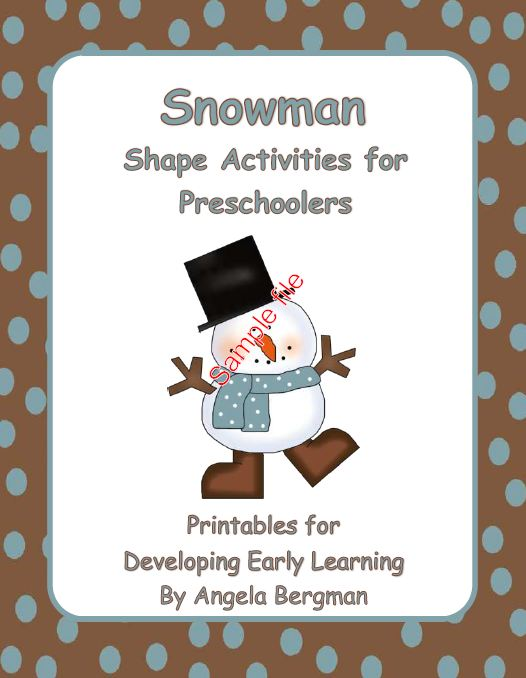 Free  Snowman Shape Activities for Preschoolers