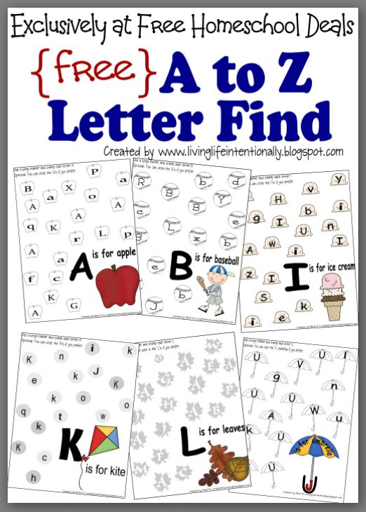 Free Instant Download Complete A to Z Letter Find Worksheet – Free Alphabet Worksheets for Kindergarten