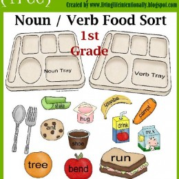 Free Printable Noun Verb Food Sort (Great for Language Arts Center or File Folder Game)