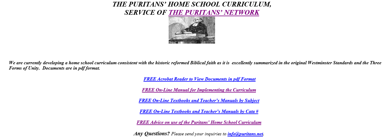 Free Homeschool Curriculum: THE PURITANS' HOME SCHOOL CURRICULUM