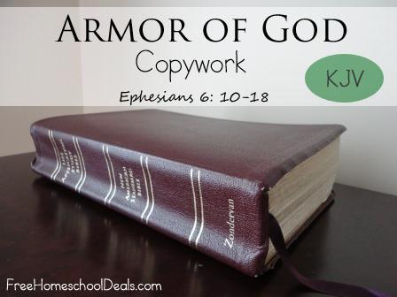 Armor of God Copywork - FreeHomeschoolDeals.com