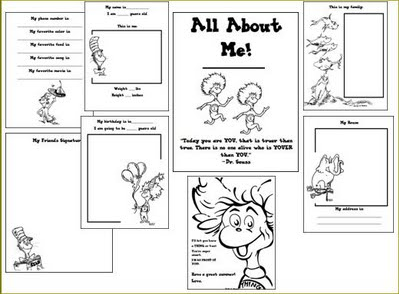 Worksheet Dr Seuss Worksheets free dr seuss all about me printable book homeschool deals book