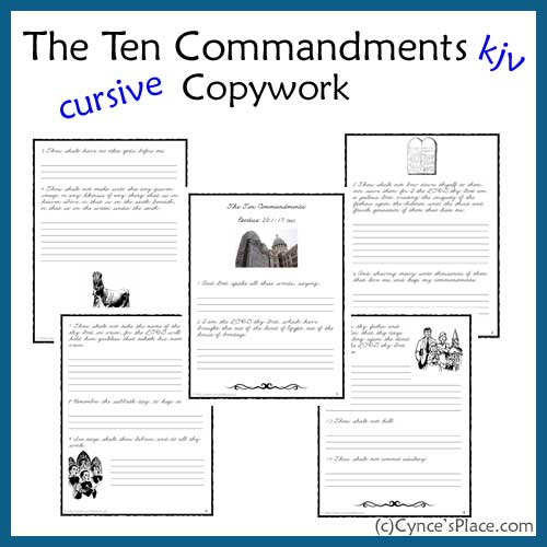 Free Ten Commandments Cursive Copywork KJV