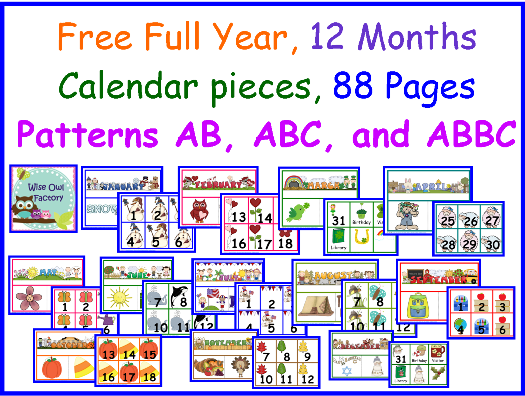 Free Full Year of Calendar Numbers and Headers