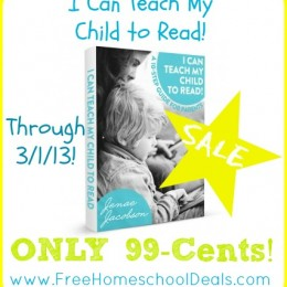 I Can Teach My Child to Read 99-Cent SALE (Kindle and PDF!)