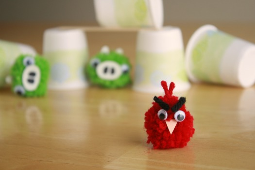DIY Angry Birds Pom Poms Craft