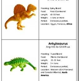 Free Dinosaur Cards and Worksheet