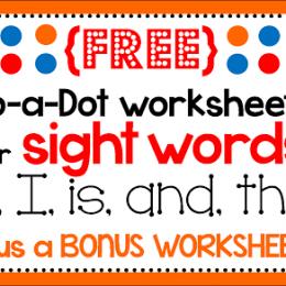 Free Sight Word Dot Marker Printables