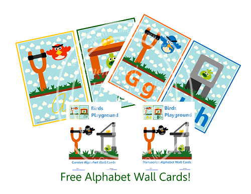 Free Birds Playground Cursive and Manuscript Alphabet Wall Cards Printable
