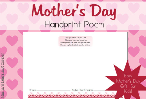 Free Mother's Day Handprint Poem from Mamas Learning Corner | Free ...