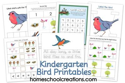 free kindergarten bird themed printable pack free homeschool deals. Black Bedroom Furniture Sets. Home Design Ideas