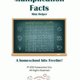 Free Multiplication Facts Mini Helper