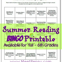 Free Summer Reading Bingo Printable for 1st-6th Grades