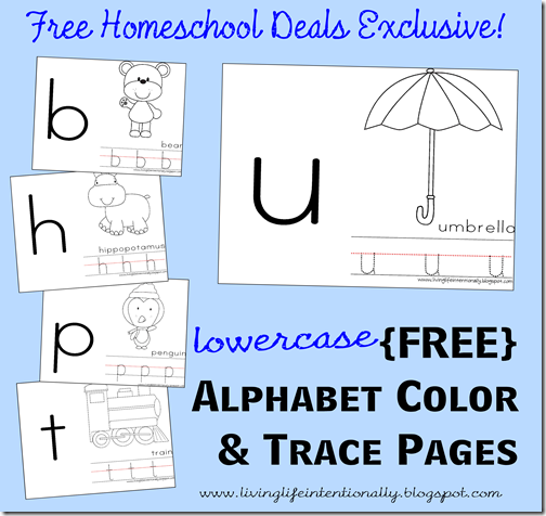 Free Lowercase Alphabet Color and Trace Pages | Free Homeschool ...