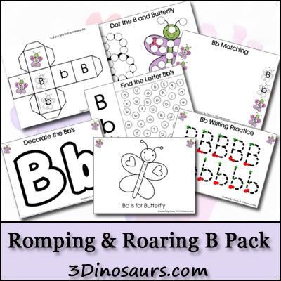 "Free Romping Roaring Letter ""B"" Printable Pack"