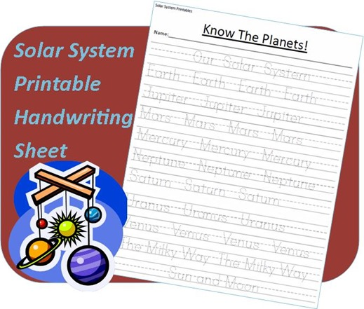 free solar system handwriting worksheet