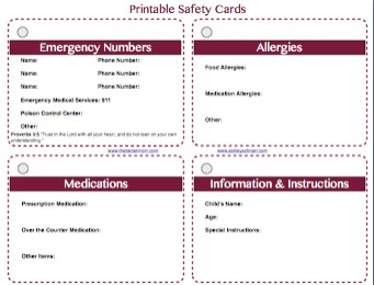 free printable safety cards for your children free