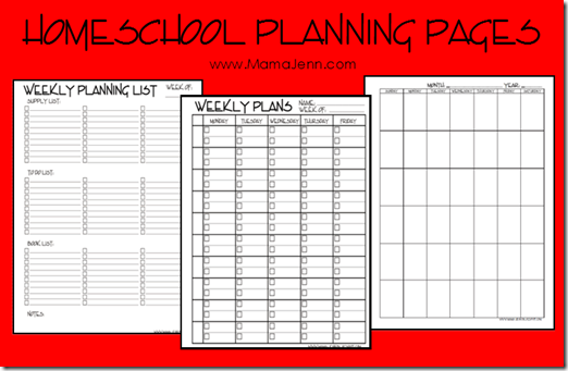 free homeschool planning pages