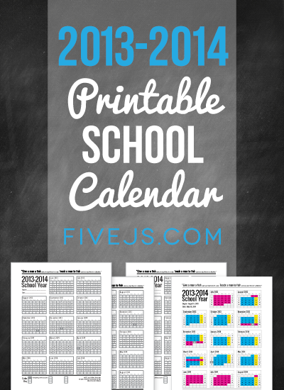 Free Printable Homeschool Calendar for 2013-2014