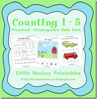 Free Homeschool Printables: Counting 1-5 Math Pack