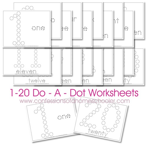 Free 1-20 Do-A-Dot Number Printable Worksheets | Free Homeschool ...