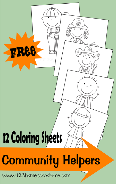 123homeschool4me has just released 12 free community helpers coloring sheets