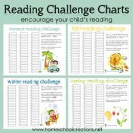 Free Seasonal Reading Challenge Charts