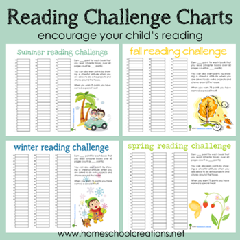 Free Seasonal Reading Challenge Charts | Free Homeschool ...