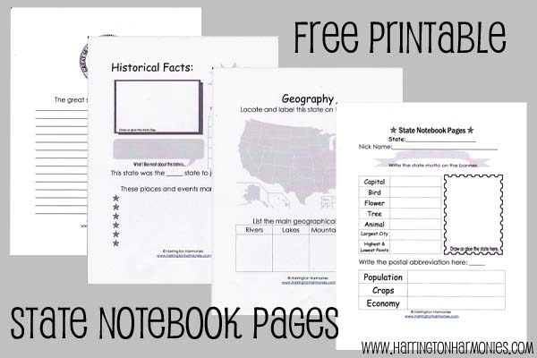 Free State Notebooking Pages