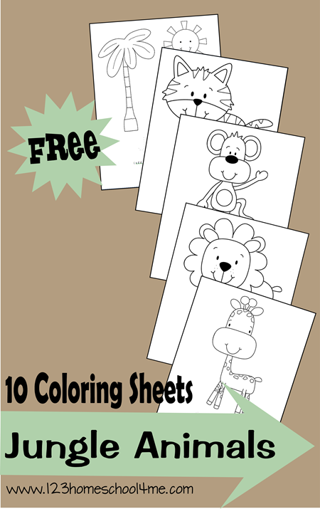 free jungle animals coloring sheets free homeschool deals. Black Bedroom Furniture Sets. Home Design Ideas