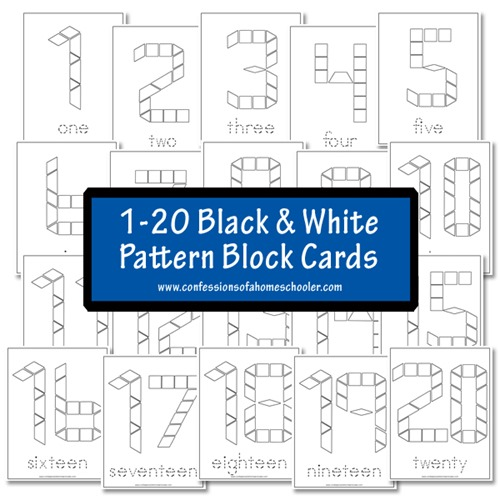 FREE Black and White Pattern Block Cards - Numbers 1-20   Free ...